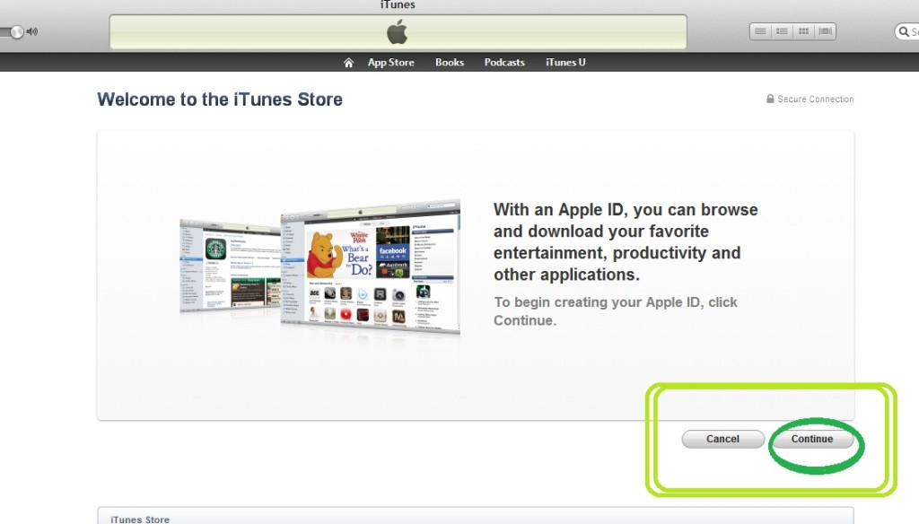 iTunes Store screen