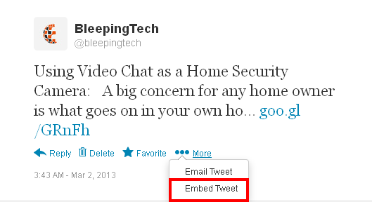 Embed Twitter Tweets on blog / website