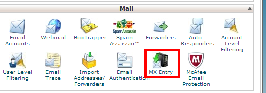 MX entry in CPanel