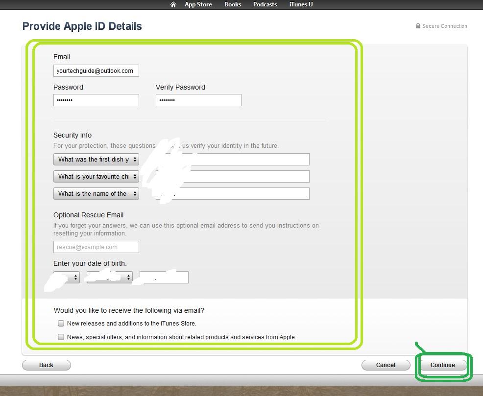 Apple registration Form