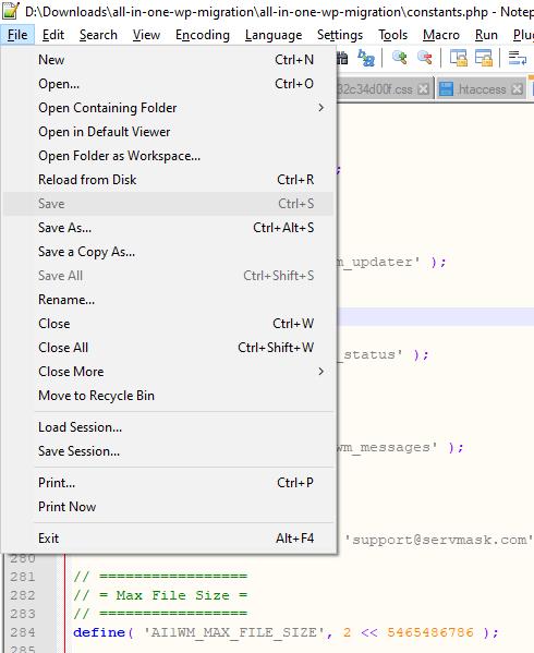 save menu notepad ++